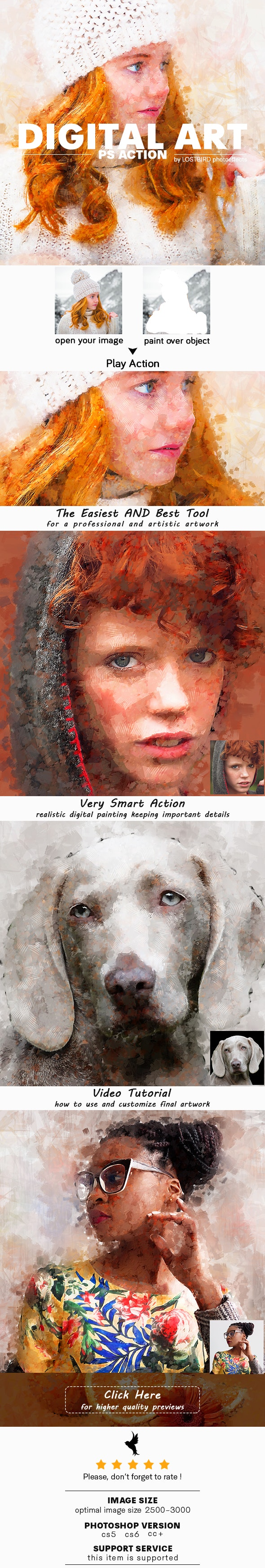 Digital Art Photoshop Action - Photo Effects Actions