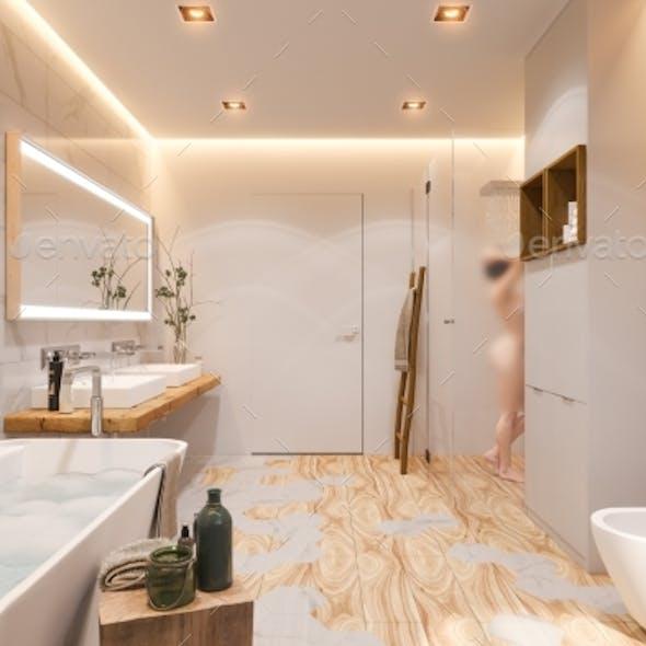 Interior Design of a Bathroom, 3d Illustration