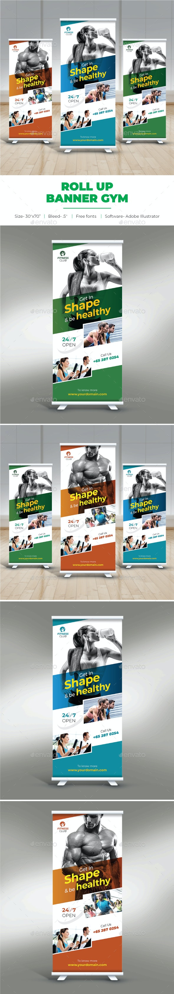 Gym Roll Up Banner - Signage Print Templates