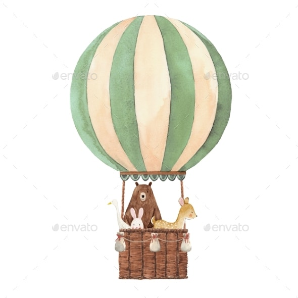 Watercolor Air Baloon Illustration - Miscellaneous Illustrations