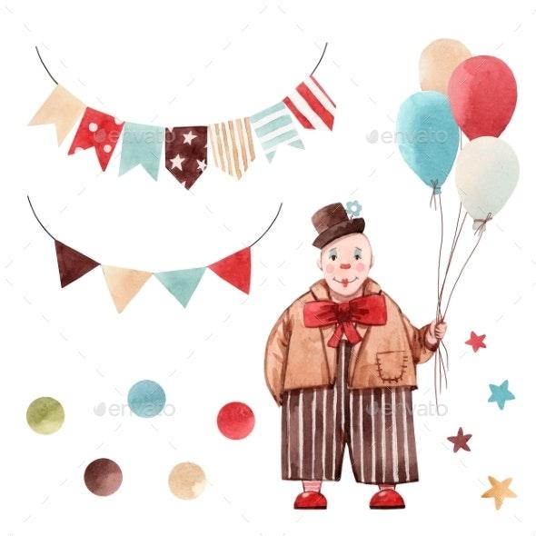 Watercolor Circus Clown Set - Miscellaneous Illustrations