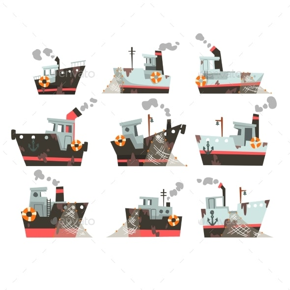 Collection of Fishing Boats, Trawlers - Man-made Objects Objects
