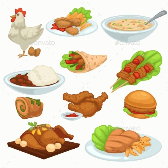 Period of Harvesting Dishes Made of Poultry Meat - Food Objects