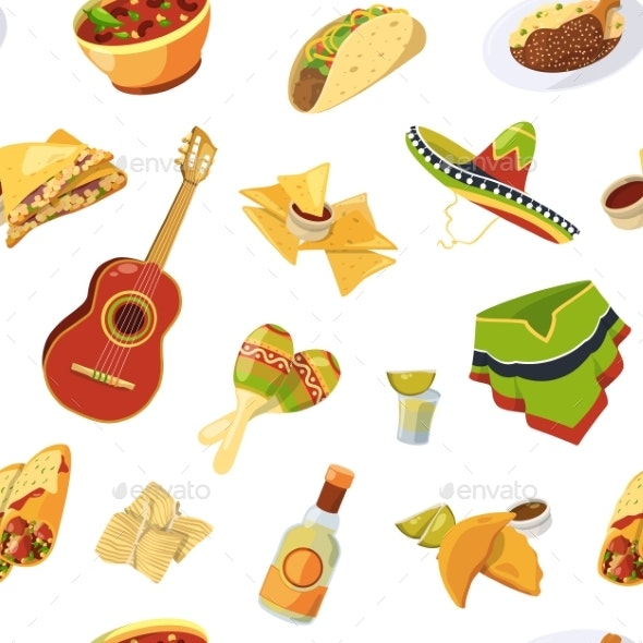 Vector Cartoon Mexican Food Pattern or Background - Backgrounds Decorative