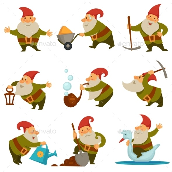 Gnome with Mining Instrument for Gold - Miscellaneous Characters