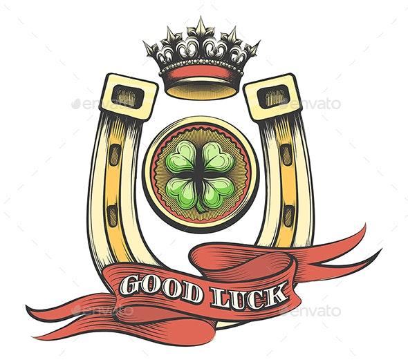 Good Luck Gambling Emblem - Tattoos Vectors