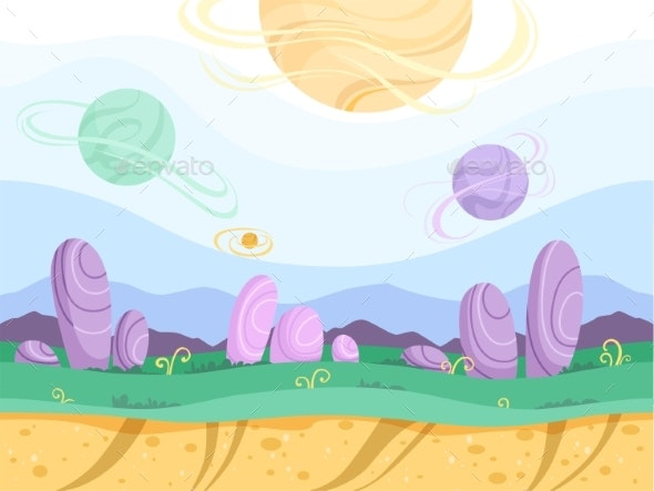 Alien Seamless Background. Moon Surface Strange - Miscellaneous Vectors