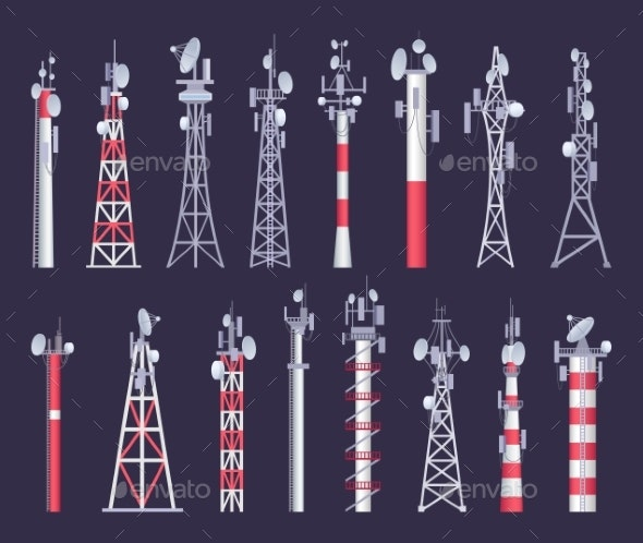 Wireless Tower. Tv Radio Network Communication - Objects Vectors