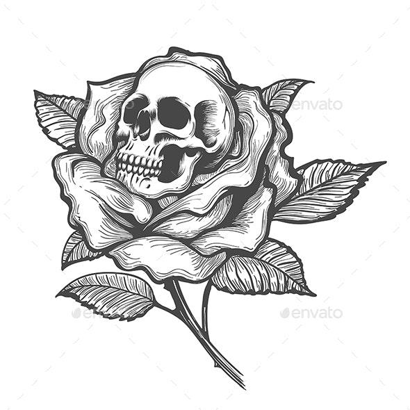 Skull Inside a Rose Flower - Tattoos Vectors
