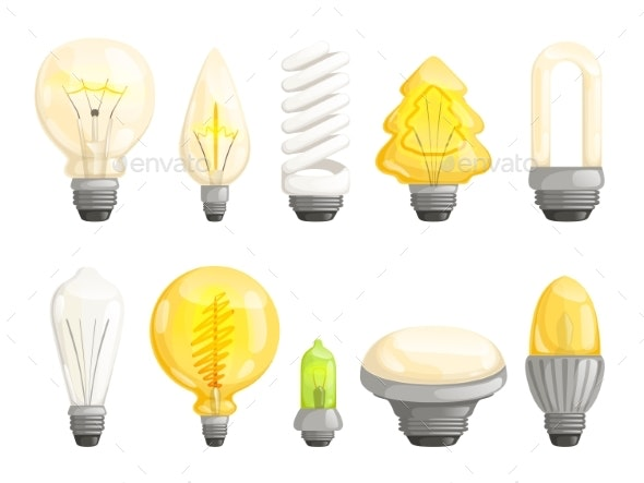 Modern Bulbs Collection. Idea Lamp Lighting - Objects Vectors
