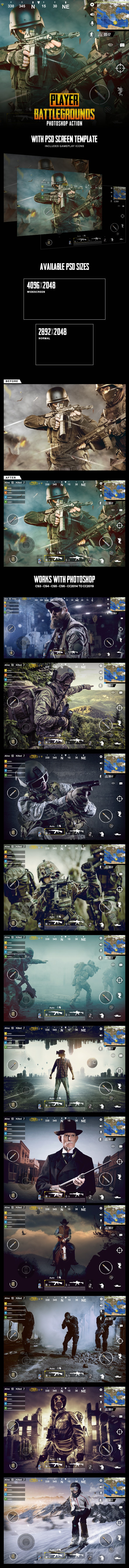 Player Battlegrounds Photoshop Action - Photo Effects Actions