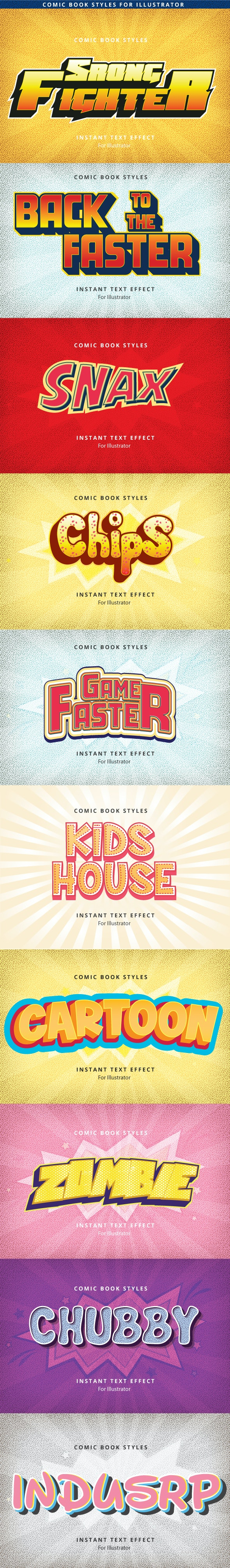 Comic Text Effects - Styles Illustrator