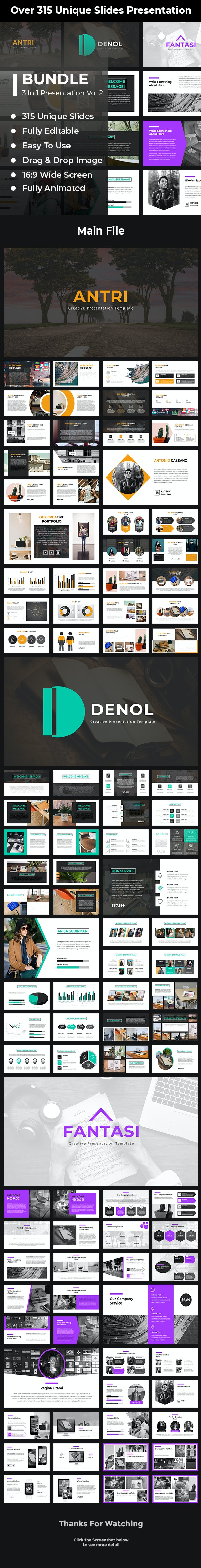 Bundle 3 in 1 Power Point Template Vol 2 - PowerPoint Templates Presentation Templates