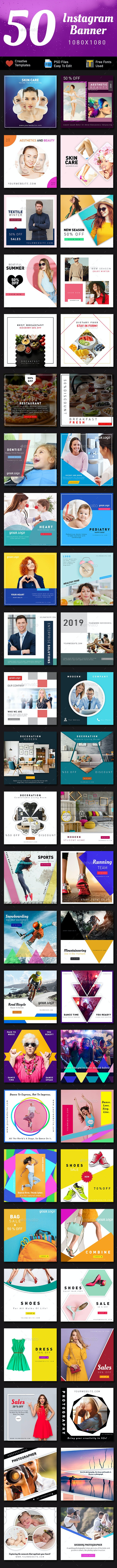Instagram Banners - 50 Banners - Graphics