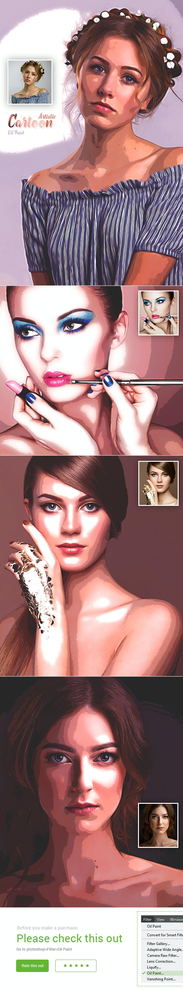Artistic Cartoon Oil Paint - Photo Effects Actions