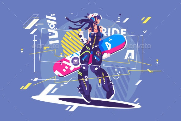 Girl in Sportswear with Snowboard - Miscellaneous Vectors