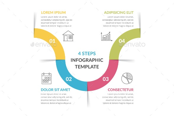 Infographic Template with 4 Steps - Infographics