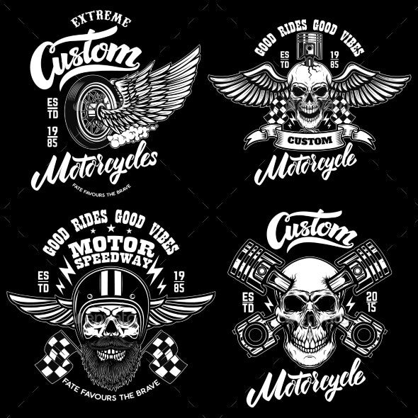 Set of Racer Emblem Templates with Motorcycle - Miscellaneous Vectors