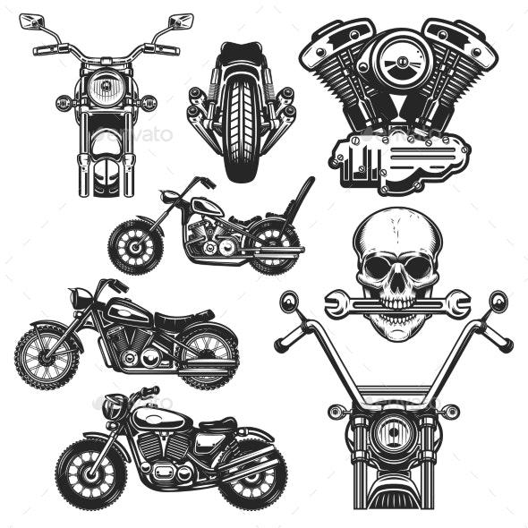 Set of Motorcycle Design Elements - Miscellaneous Vectors