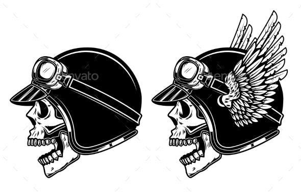 Biker Skull in Winged Racer Helmet - Miscellaneous Vectors