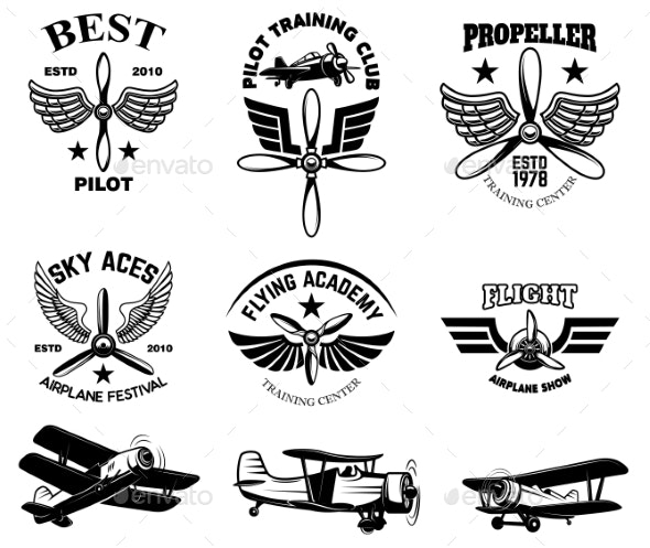 Set of Vintage Airplane Show Emblems - Man-made Objects Objects