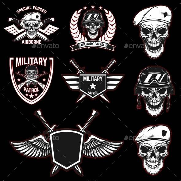 Set of Military Emblems with Paratrooper Skull - Miscellaneous Vectors