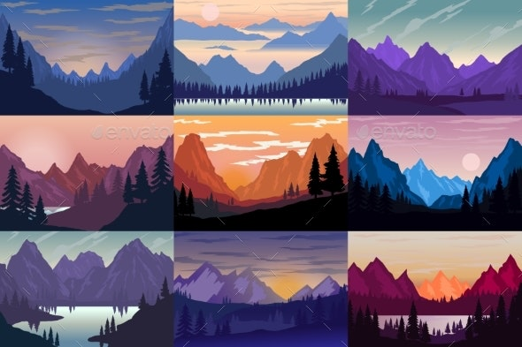 Set of Illustrations of Cartoon Mountain - Landscapes Nature