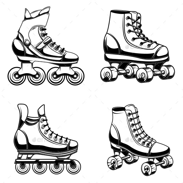 Set of Roller Skates Illustration - Miscellaneous Vectors