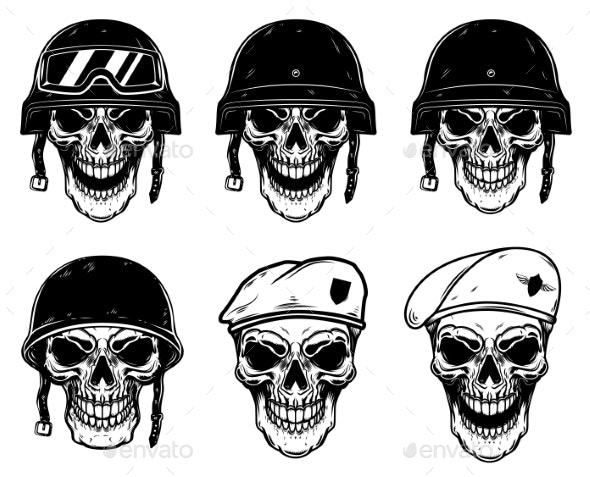 Set of Soldier Skulls in Paratrooper Beret - Miscellaneous Vectors