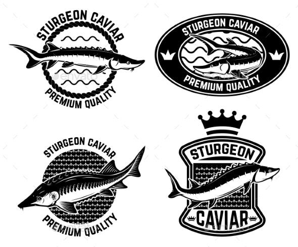 Sturgeon Caviar Label Template - Decorative Symbols Decorative