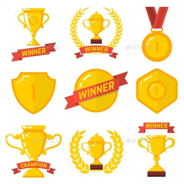 Set of Winner Emblems in Flat Style - Miscellaneous Vectors
