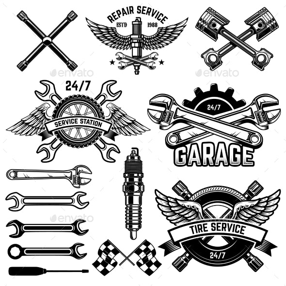 Set of Car Service Station Emblems and Design - Man-made Objects Objects