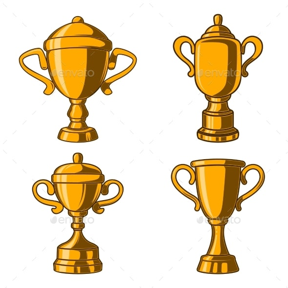 Set of Winner Cups in Engraving Style - Man-made Objects Objects