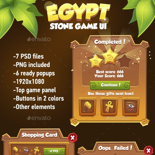 Stone Cartoon GUI Pack in Egypt Style