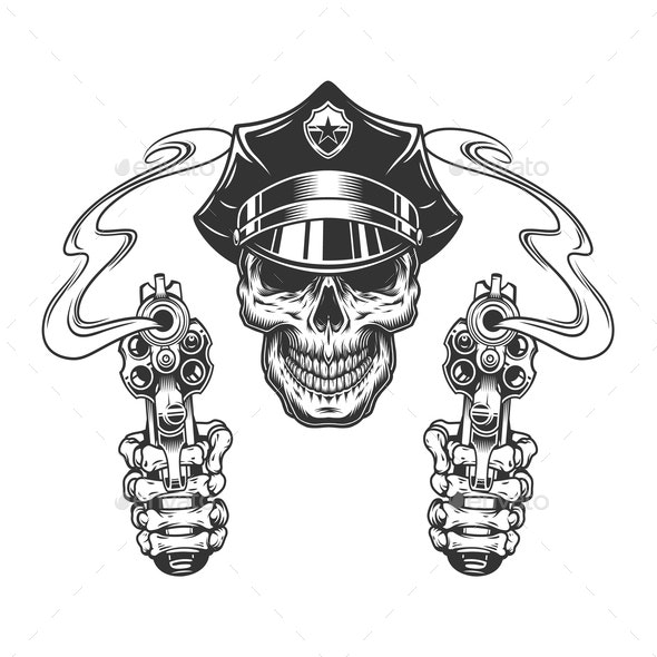 Vintage Skull in Police Hat - Miscellaneous Vectors