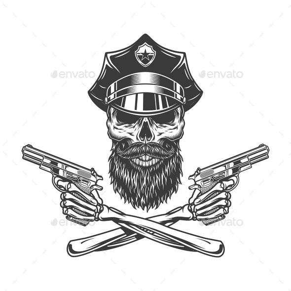 Bearded Police Skull - Miscellaneous Vectors