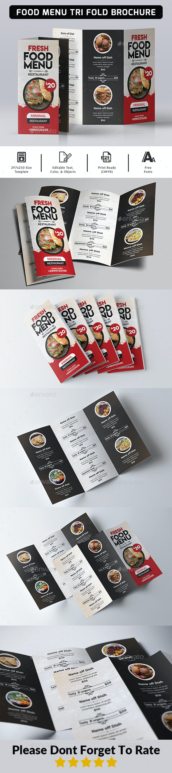 Food Menu Tri Fold Brochure - Food Menus Print Templates