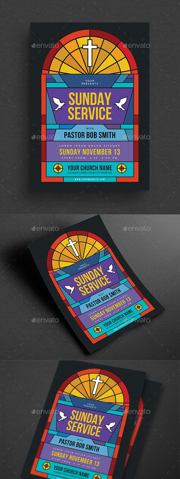 Sunday Service Church Event Flyer - Church Flyers