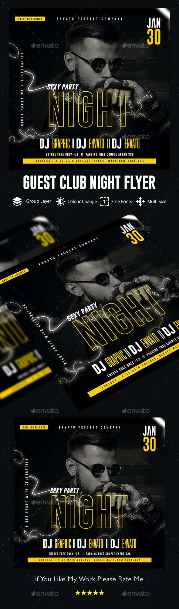 Guest Dj Night Flyer Template - Clubs & Parties Events
