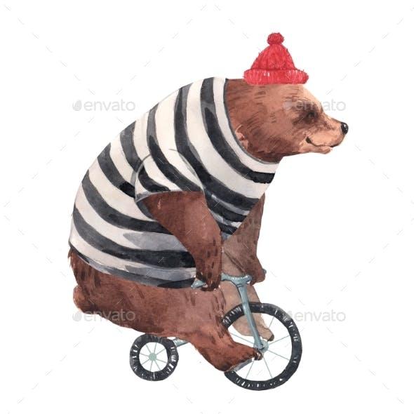 Watercolor Circus Bear