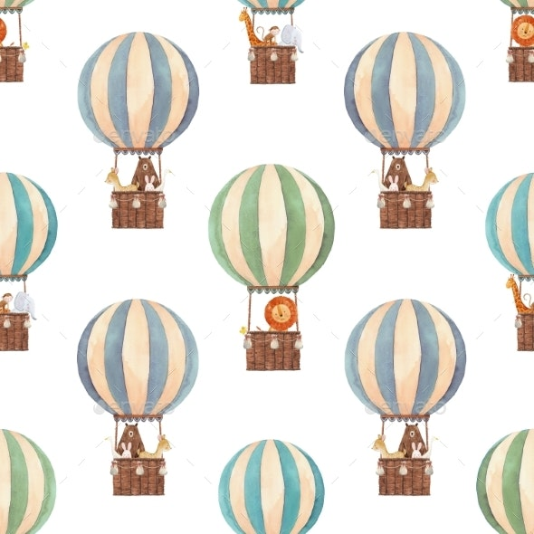 Watercolor Air Baloon Pattern - Miscellaneous Illustrations
