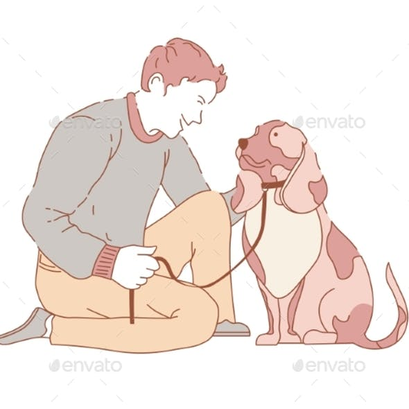Male Spending Time with Dog
