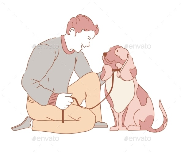 Male Spending Time with Dog - Animals Characters