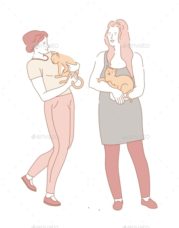 Women Friends Holding Pet Cats in Hands - Animals Characters