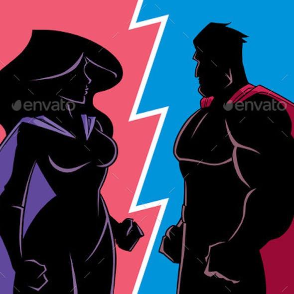 Hero Versus Heroine Silhouette