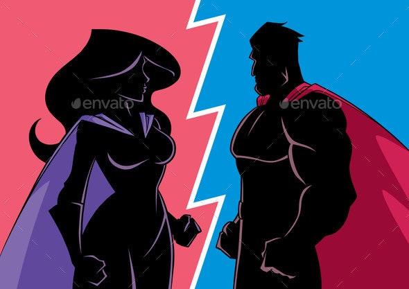 Hero Versus Heroine Silhouette - People Characters