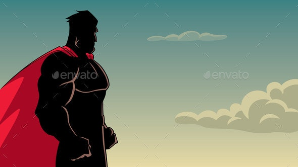 Superhero Side Profile Sky Silhouette - People Characters
