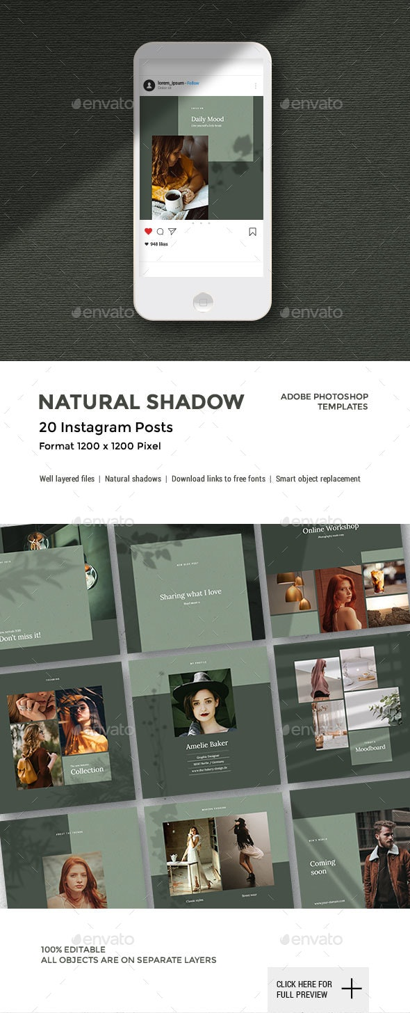 Natural Shadow - Instagram Pack - Social Media Web Elements