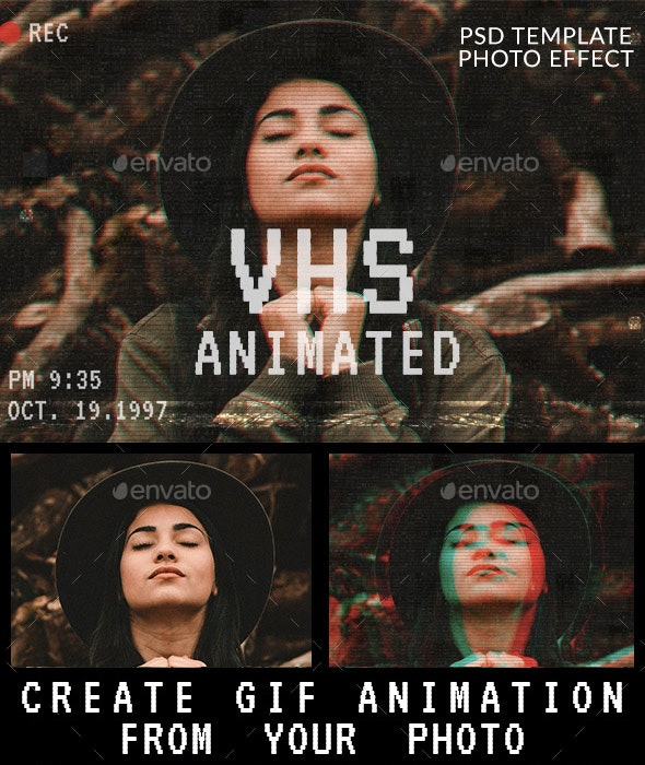 Animated VHS Effect Photoshop Template - Photo Templates Graphics