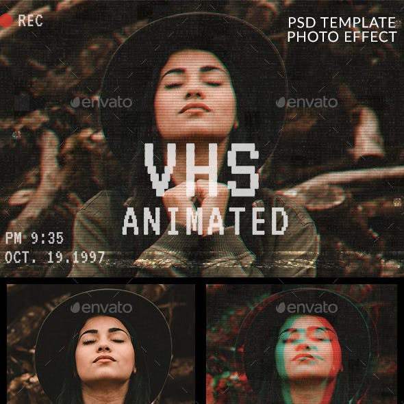 Animated VHS Effect Photoshop Template